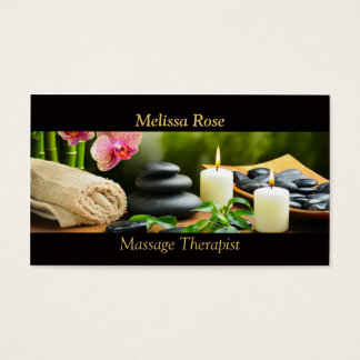 A orquídea de bambu da massagem apedreja a vela cartão de visitas