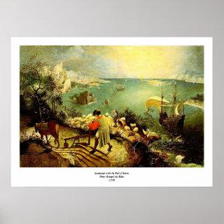 A paisagem de Bruegel com a queda de Ícaro - 1558 Poster