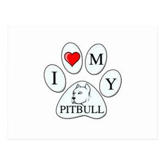 A PATA - coração de I meu pitbull - cão do amor pr Cartões Postais