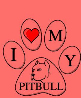 A PATA - coração de I meu pitbull - cão do amor pr T-shirts