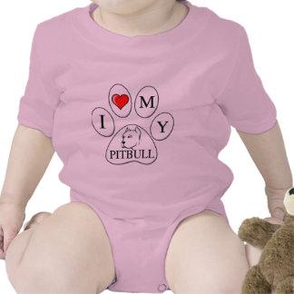 A PATA - coração de I meu pitbull - cão do amor pr Macacãozinho Para Bebês