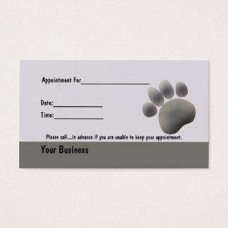 A pata segue o cartão veterinário de Apointment do