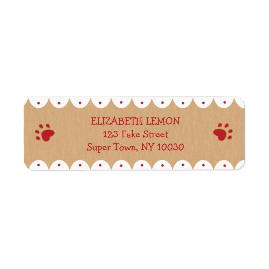 A pata vermelha imprime etiquetas de endereço