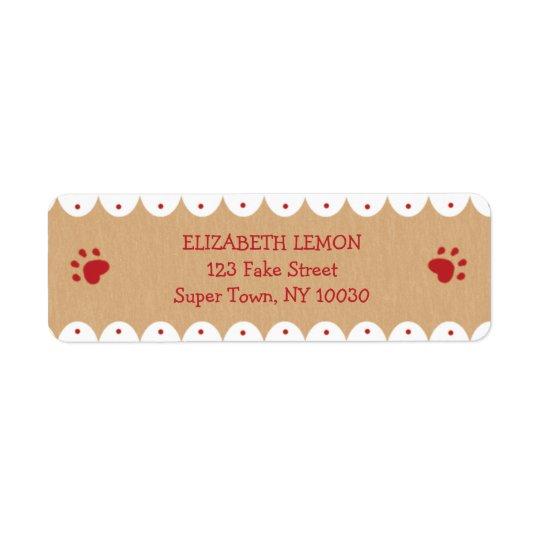A pata vermelha imprime etiquetas de endereço etiqueta endereço de retorno