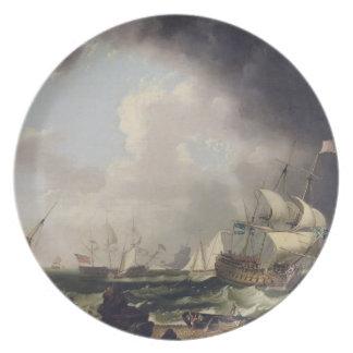 A pesca, c.1764 (óleo em canvas) pratos de festas