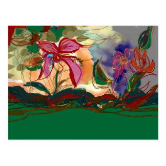 A pintura cor-de-rosa de Flower>Watercolour Cartão Postal