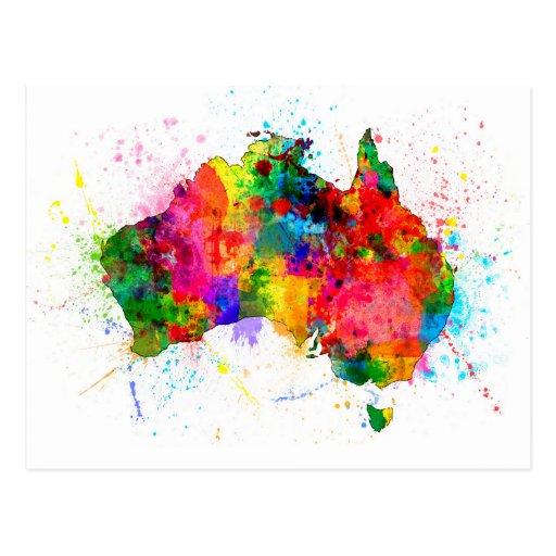 A pintura de Austrália espirra o mapa Cartão Postal
