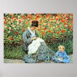 A pintura famosa de Monet: Camilo Monet e criança Posters