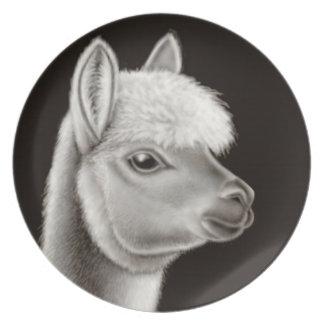 A placa amigável da alpaca prato