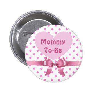 A polca cor-de-rosa pontilhou mamães para ser bóton redondo 5.08cm