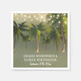 A praia ilumina guardanapo tropicais do casamento