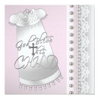 A prata peroliza o batismo do rosa do bebé do convite quadrado 13.35 x 13.35cm