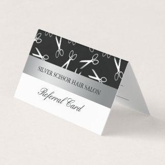 A prata Scissors o cartão da referência do