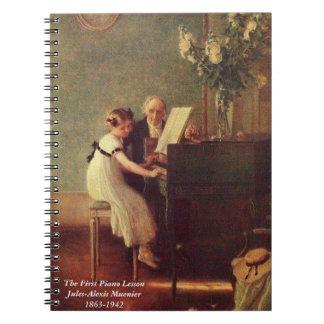 A primeira lição de piano por Muenier; Caderno