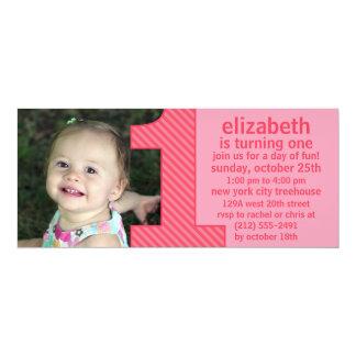"""A princesa Cor-de-rosa um é peça do aniversário da Convite 10.16"""" X 23.49cm"""