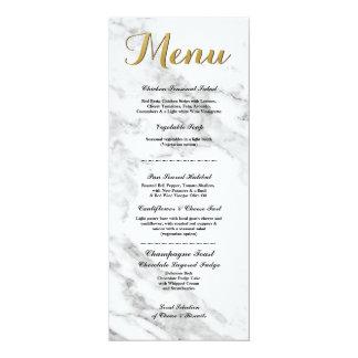 """A recepção de casamento de mármore do menu do ouro convite 10.16"""" x 23.49cm"""