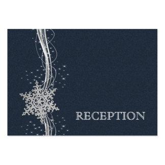 A recepção de casamento de prata azul dos flocos cartoes de visitas