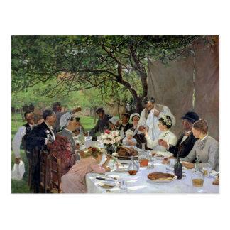 A refeição do casamento em Yport, 1886 Cartão Postal