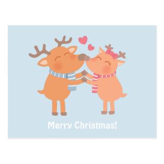 A rena bonito Nuzzle o cartão do Natal dos narizes Cartão Postal
