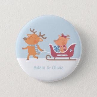 A rena bonito puxa o botão do Natal do trenó Bóton Redondo 5.08cm