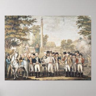 A rendição britânica ao general Washington Poster