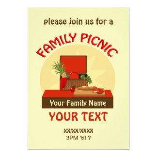 A reunião do piquenique da família da cesta do convite 12.7 x 17.78cm