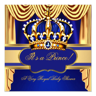 A seda azul do ouro do príncipe chá de fraldas convite quadrado 13.35 x 13.35cm