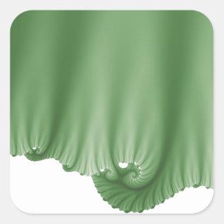 A seda verde drapeja adesivo quadrado