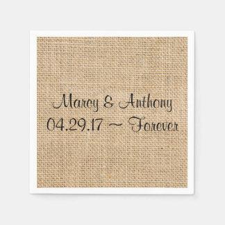 A serapilheira rústica do casamento personalizada guardanapo de papel
