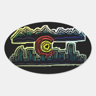 A skyline de Colorado desvanece-se etiquetas Adesivo Oval