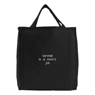 A sobrevivência é um trabalho da mãe - saco bordad bolsa de lona