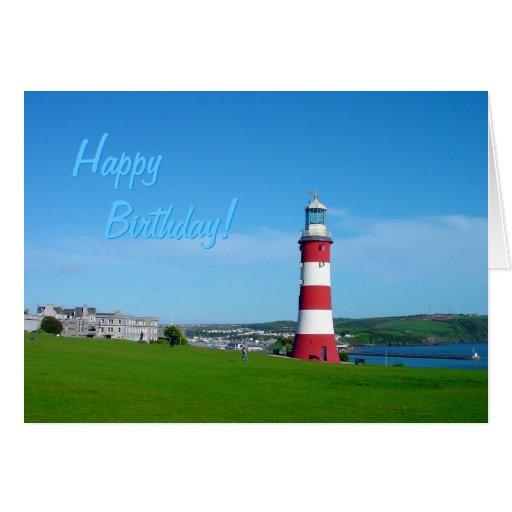 A torre de Smeaton, cartão de aniversário do Hoe d