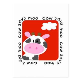 A vaca diz o camiseta e os presentes do MOO Cartão Postal