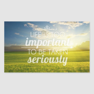 A vida é citações | inspiradores demasiado adesivo retangular