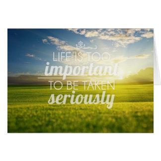 A vida é citações | inspiradores demasiado cartão