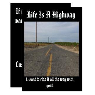 A vida é um cartão customozable da estrada, convite 12.7 x 17.78cm