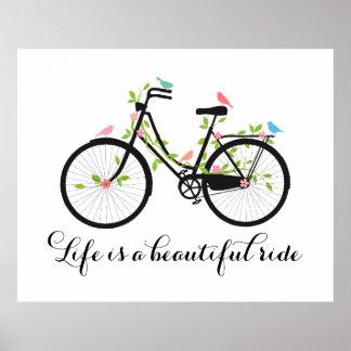 A vida é um passeio bonito, bicicleta do vintage impressão