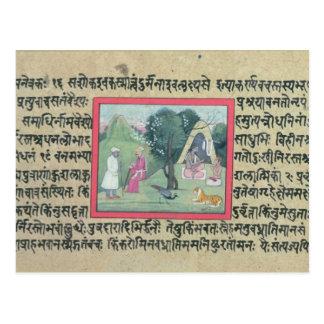 A visita de um chefe de Rajput a um eremita de um Cartão Postal