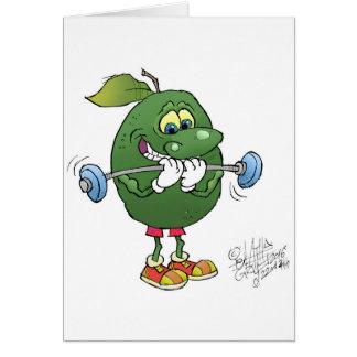 Abacate do levantamento de peso, em um cartão de