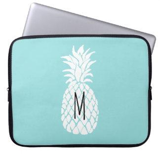 abacaxi do branco do monograma bolsa e capa para computadore