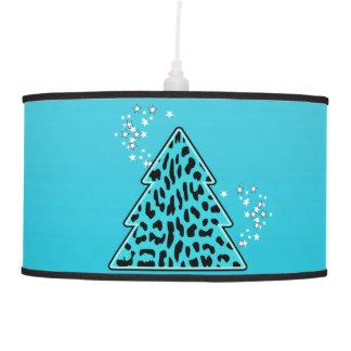 Abajur De Teto Árvore de Natal azul da chita do leopardo