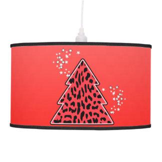 Abajur De Teto Árvore de Natal vermelha da chita do leopardo