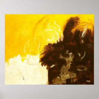 Abandono imprudente, arte abstracta, ouro de Brown Poster