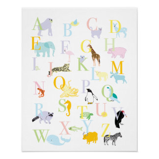 ABC animal Pastel imprime Impressão