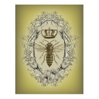 abelha de rainha chique da coroa do victorian do cartão postal