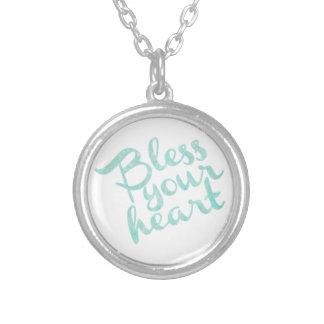 Abençoe sua faísca de turquesa do coração colar com pendente redondo