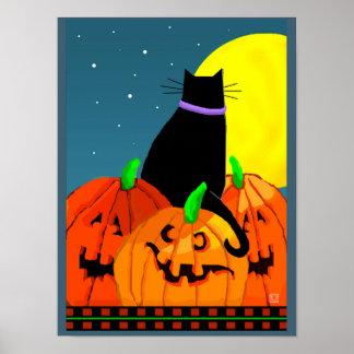 Abóbora bonita e Lua cheia do gato preto do Dia