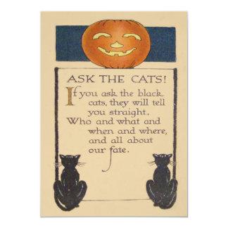 Abóbora da lanterna de Jack O do gato preto Convite 12.7 X 17.78cm
