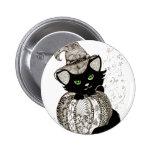 Abóbora dos olhos verdes de gato preto de Zentangl Pins