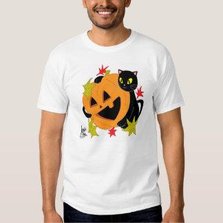 Abóbora e gato camisa de 1 T T-shirt